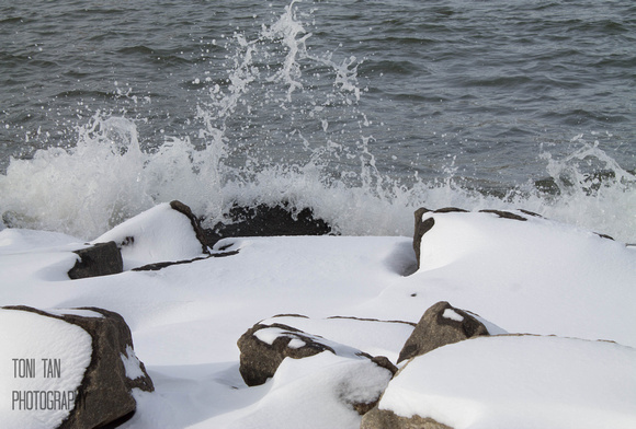 East River Waves and Snow